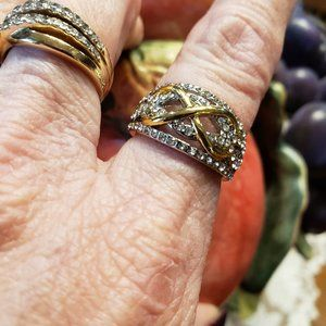 Silver and Gold Sparkle Ring sz 6